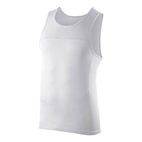 Mens 2XU Tech Speed X Run Singlets Technical Tops - White/White XL