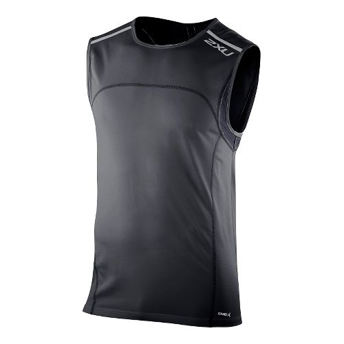 Mens 2XU Men's Gym Singlet Technical Tops - Black XXL