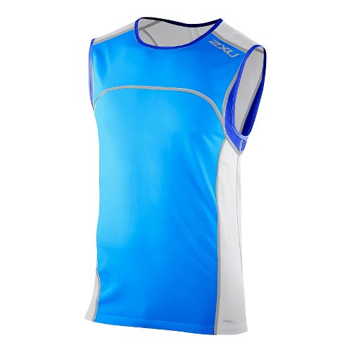 Mens 2XU Men's Gym Singlet Technical Tops - Bright Blue/Electric Blue L
