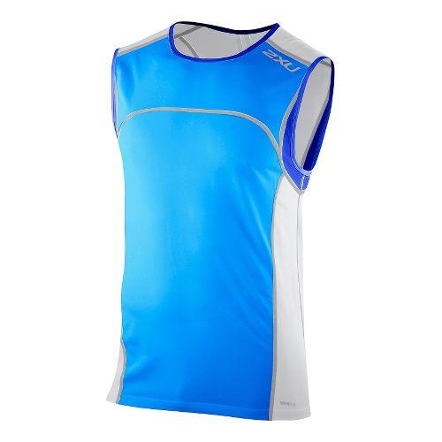 Mens 2XU Men's Gym Singlet Technical Tops - Bright Blue/Electric Blue S
