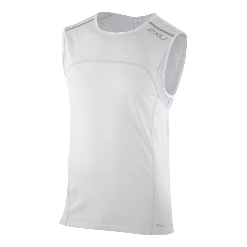 Mens 2XU Men's Gym Singlet Technical Tops - White S