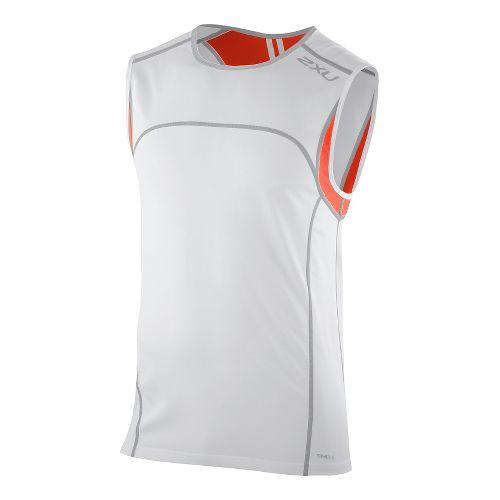 Mens 2XU Men's Gym Singlet Technical Tops - White/Bright Orange M
