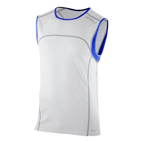 Mens 2XU Men's Gym Singlet Technical Tops - White/Electric Blue XXL