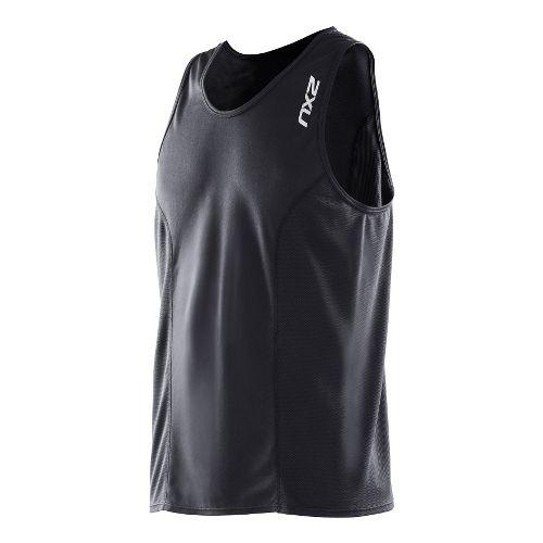 Mens 2XU Active Run Singlets Technical Tops - Black/Black S