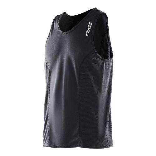 Mens 2XU Active Run Singlets Technical Tops - Black/Black XL