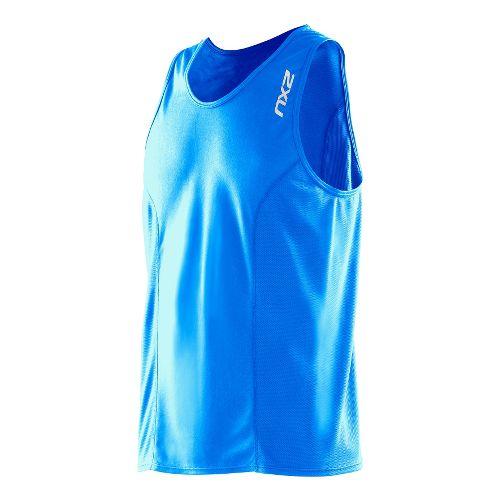 Mens 2XU Active Run Singlets Technical Tops - Bright Blue/Bright Blue XXL