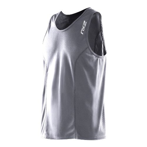 Mens 2XU Active Run Singlets Technical Tops - Charcoal/Charcoal S