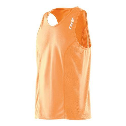 Mens 2XU Active Run Singlets Technical Tops - Neon Orange/Neon Orange M