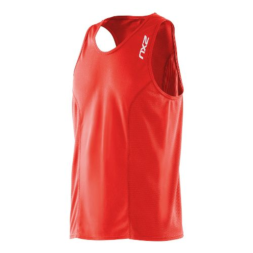 Mens 2XU Active Run Singlets Technical Tops - Neon Red/Neon Red XL