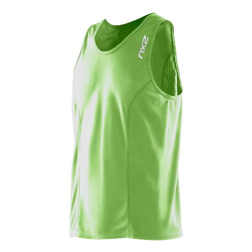Mens 2XU Active Run Singlets Technical Tops - Vibrant Green/Vibrant Green L