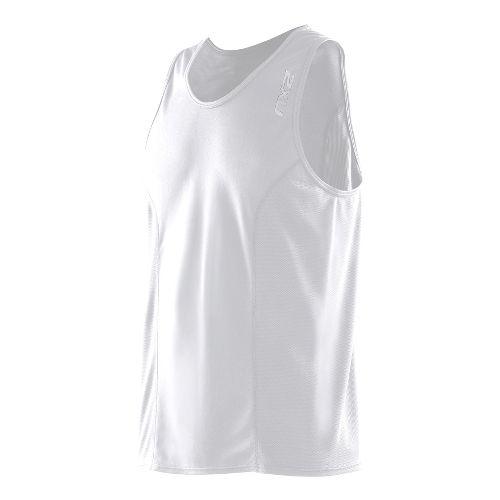 Mens 2XU Active Run Singlets Technical Tops - White/White M