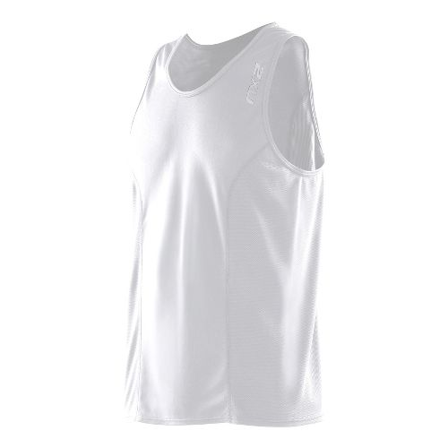 Mens 2XU Active Run Singlets Technical Tops - White/White S