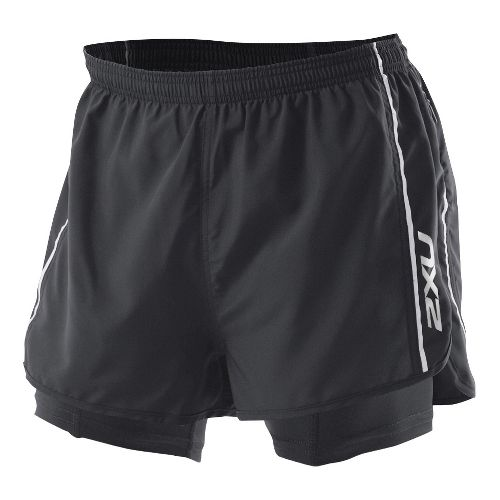 Mens 2XU 1/2 Compression X Run Lined Shorts - Black/Black M