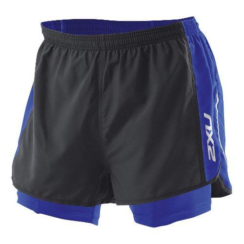Mens 2XU 1/2 Compression X Run Lined Shorts - Black/Nautic Blue S