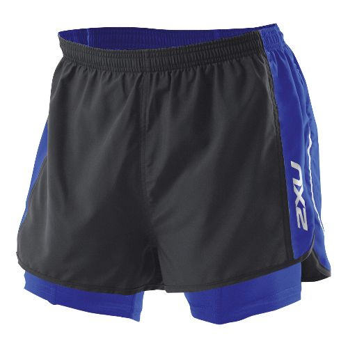 Mens 2XU 1/2 Compression X Run Lined Shorts - Black/Nautic Blue XXL