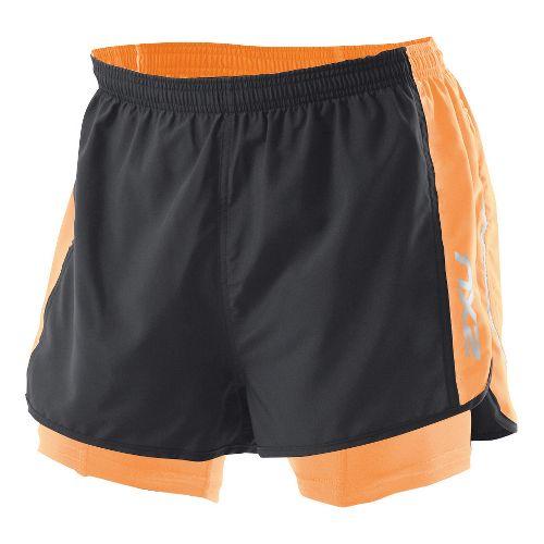 Mens 2XU 1/2 Compression X Run Lined Shorts - Black/Neon Orange L