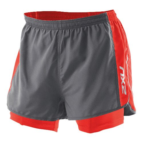Mens 2XU 1/2 Compression X Run Lined Shorts - Charcoal/Neon Red XXL