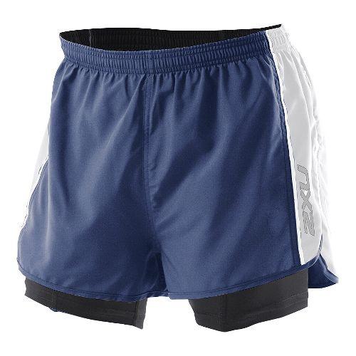 Mens 2XU 1/2 Compression X Run Lined Shorts - Indigo/White S