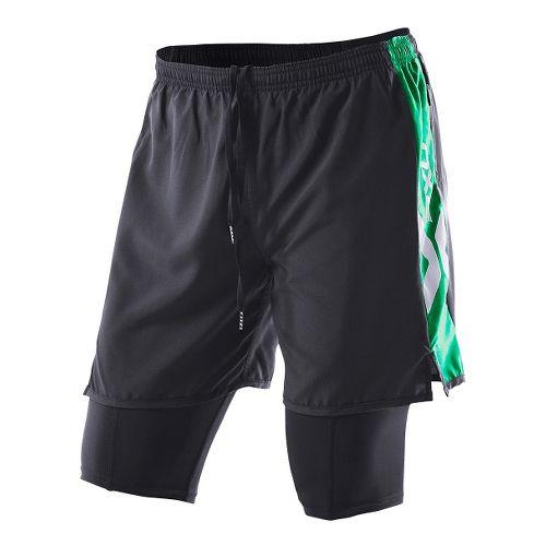 Womens 2XU Compression X Run Lined Shorts - Black/Fir Green S