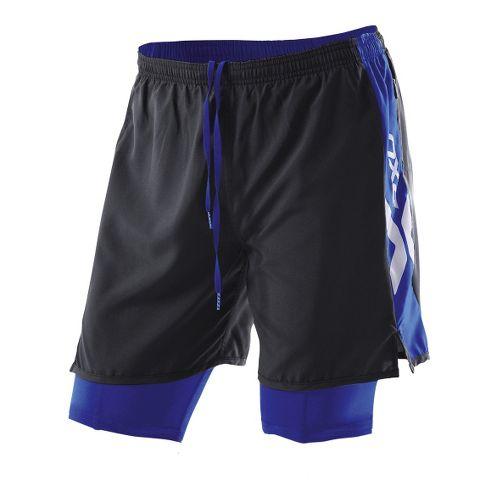 Womens 2XU Compression X Run Lined Shorts - Black/Nautic Blue XL