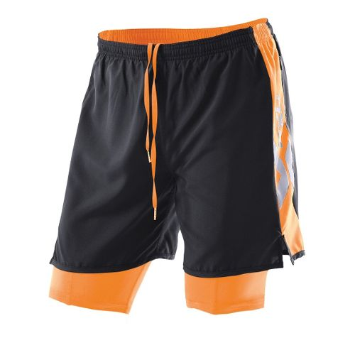 Womens 2XU Compression X Run Lined Shorts - Black/Neon Orange M