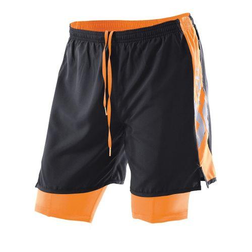 Womens 2XU Compression X Run Lined Shorts - Black/Neon Orange XL