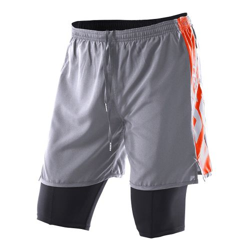 Womens 2XU Compression X Run Lined Shorts - Charcoal/Bright Orange S