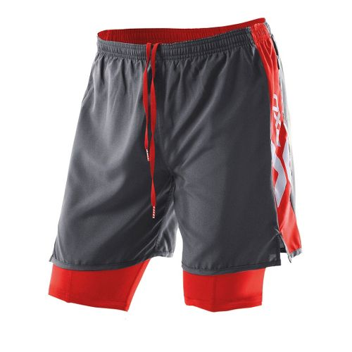 Womens 2XU Compression X Run Lined Shorts - Charcoal/Neon Red M