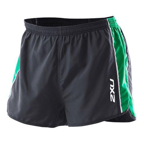 Mens 2XU Training Run Short - Short Leg Splits - Black/Forest Green XL