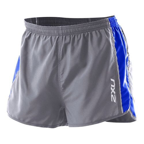 Mens 2XU Training Run Short - Short Leg Splits - Charcoal/Electric Blue S