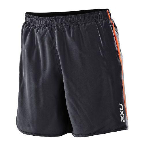 Womens 2XU Run - Medium Leg Lined Shorts - Black/Bright Orange L