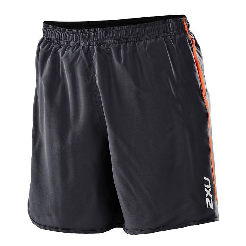 Womens 2XU Run - Medium Leg Lined Shorts - Black/Bright Orange S