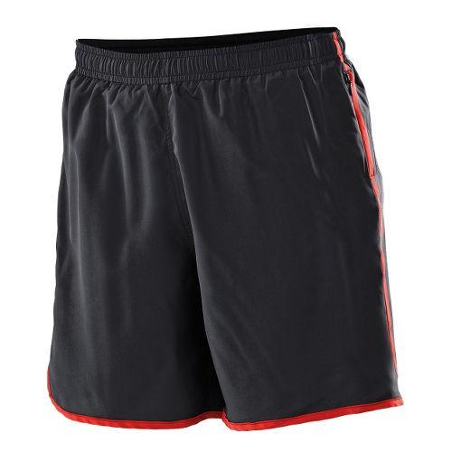 Womens 2XU Run - Medium Leg Lined Shorts - Black/Neon Red XXL