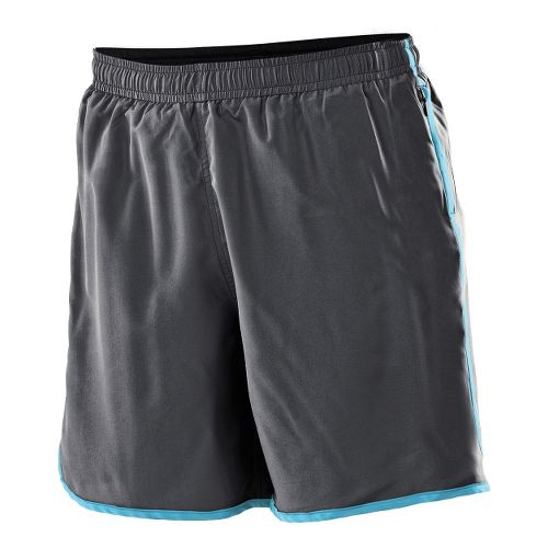 Womens 2XU Run - Medium Leg Lined Shorts - Charcoal/Light Blue M
