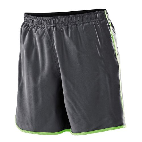 Womens 2XU Run - Medium Leg Lined Shorts - Charcoal/Neon Lime M