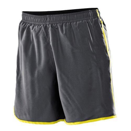 Womens 2XU Run - Medium Leg Lined Shorts - Charcoal/Neon Yellow XXL