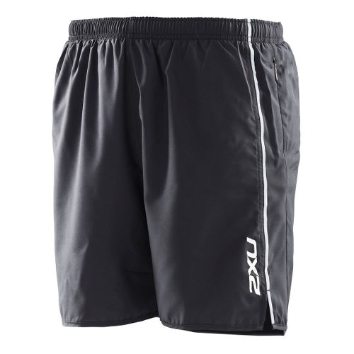Mens 2XU Active Run Lined Shorts - Black/Black XL
