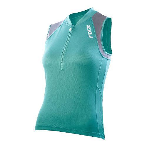 Womens 2XU Ice X Sleeveless Jersey Technical Tops - Spectrum Green/Charcoal L
