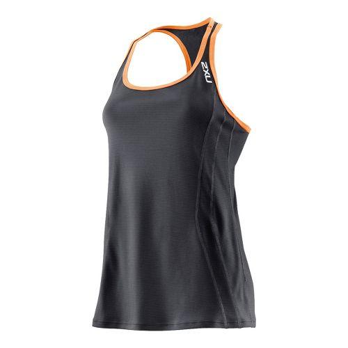 Womens 2XU Ice X Singlets Technical Tops - Black/Neon Orange XL