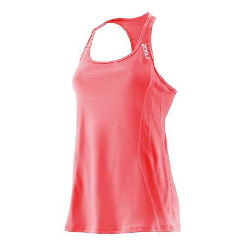 Womens 2XU Ice X Singlets Technical Tops - Neon Coral/Neon Coral M