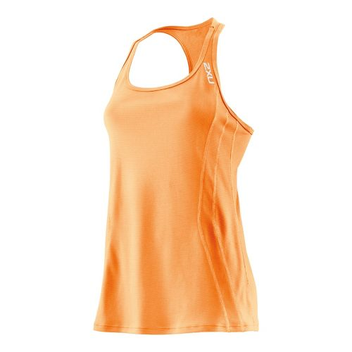 Womens 2XU Ice X Singlets Technical Tops - Neon Orange/Neon Orange L