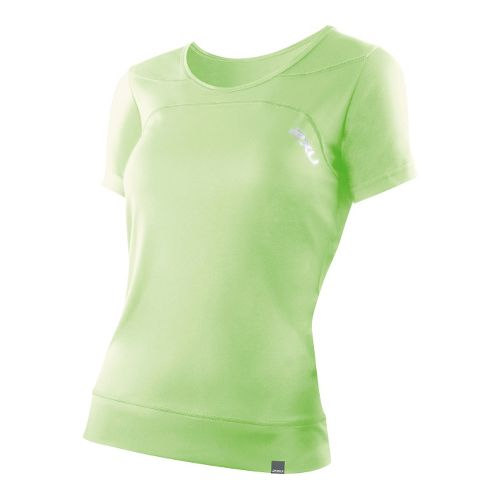 Womens 2XU Ice X Run Short Sleeve Technical Tops - Neon Lime/Neon Lime XS