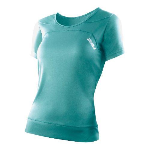 Womens 2XU Ice X Run Short Sleeve Technical Tops - Spectrum Green/Spectrum Green S