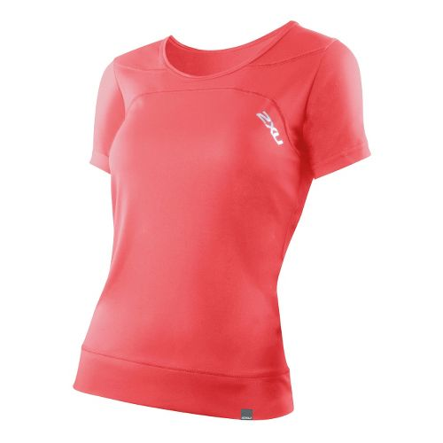 Womens 2XU Ice X Run Short Sleeve Technical Tops - Watermelon/Watermelon L