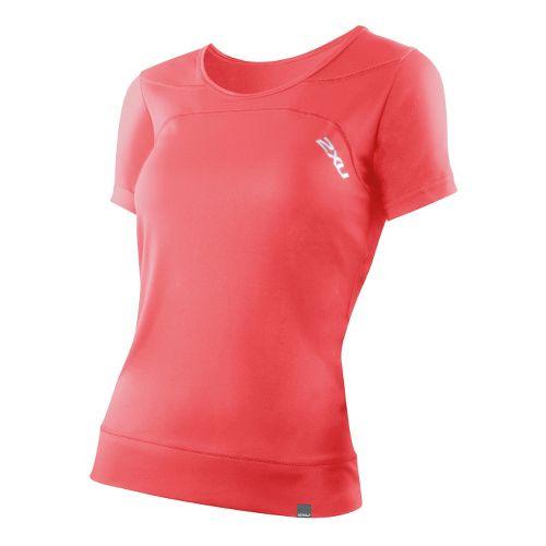 Womens 2XU Ice X Run Short Sleeve Technical Tops - Watermelon/Watermelon M