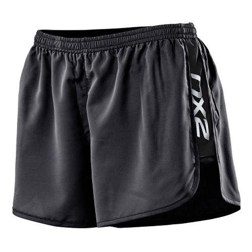 Womens 2XU Run Splits Shorts - Black XL