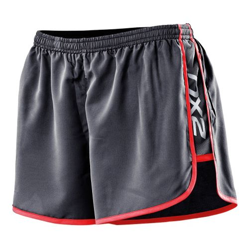 Womens 2XU Run Splits Shorts - Charcoal/Neon Coral XS
