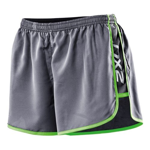 Womens 2XU Run Splits Shorts - Charcoal/Neon Lime XS