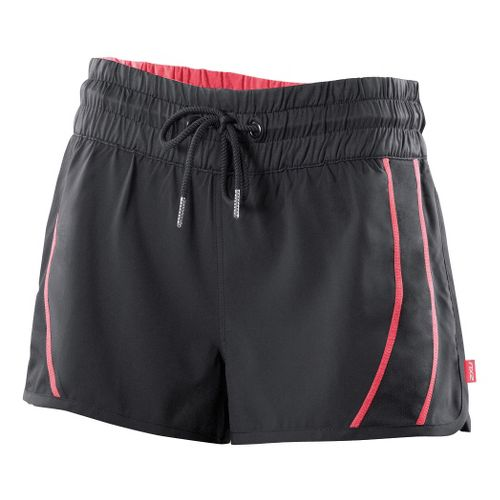 Womens 2XU Freestyle Unlined Shorts - Black/Coral Rose XS