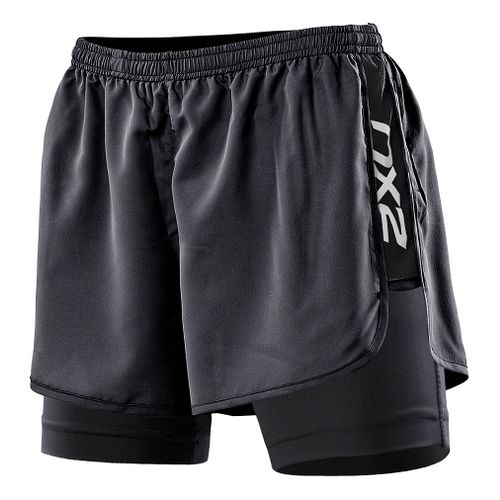 Womens 2XU Run Compression Lined Shorts - Black/Black L